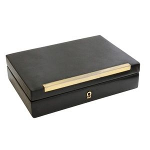 Gucci Black Leather Jewelry Case Trinket Box Rare